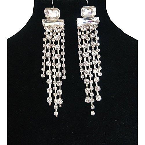 NABROJ Fashion Women Bling Crystal Elegant Tassel Chandelier Dangle Drop Earrings with Starburst Big Beads Hook Earrings Ladies Gift –ER19 White (Starburst Adjustable Ring)