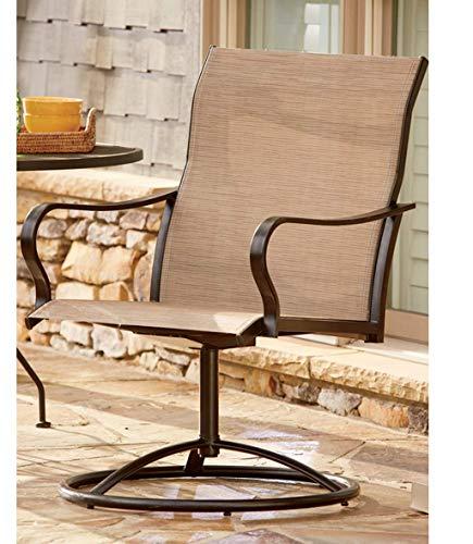 LivingXL Extra Heavy Duty Swivel Outdoor Chair (Khaki) – 650lb Capacity