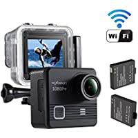 NEXGAGDET WIFI Action Camera 14MP 1080P Waterproof Sports Camera 170 Degree Ultra Wide-Angle Lens, 2 Pcs Rechargeable Batteries