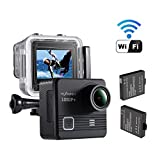Cheap NEXGADGET WiFi Action Camera 14MP 1080P Waterproof Sports Camera 170 Degree Ultra Wide-Angle Lens, 2 Pcs Rechargeable Batteries