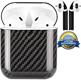 APSkins Real Carbon Fiber Hardshell Case Compatible with Apple AirPods 2 (Wireless Charging Light Visible) Comes with APSkins Black Air Pod Skins Wraps (Black)