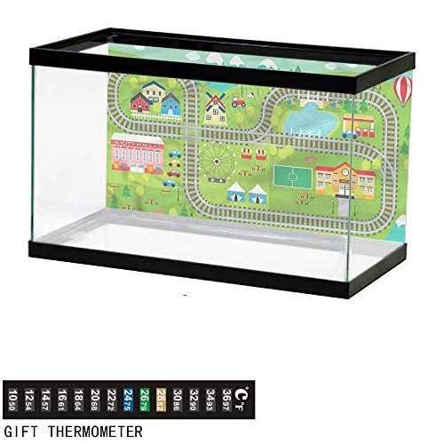 bybyhome Fish Tank Backdrop Kids Activity,Train Tracks,Aquarium Background,48