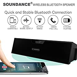 Soundance Wireless FM Radio Bluetooth Speaker Alarm Clock with Loud Sound Built-in Mic LED Screen, Support USB AUX MicroSD, Compatible with Alexa MP3 iPhone Android Computer Tablet, Model SDY019 Black