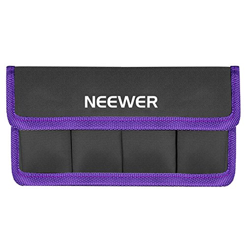 Neewer DSLR Battery Bag Holder Case for AA Battery and lp-e6 lp-e8 lp-e10 lp-e12 en-el14 en-el15 fw50 f550 and More, Suitable for Battery of Nikon D800 Canon 5DMKIII Sony A77(Purple) (Battery Case Carrying)