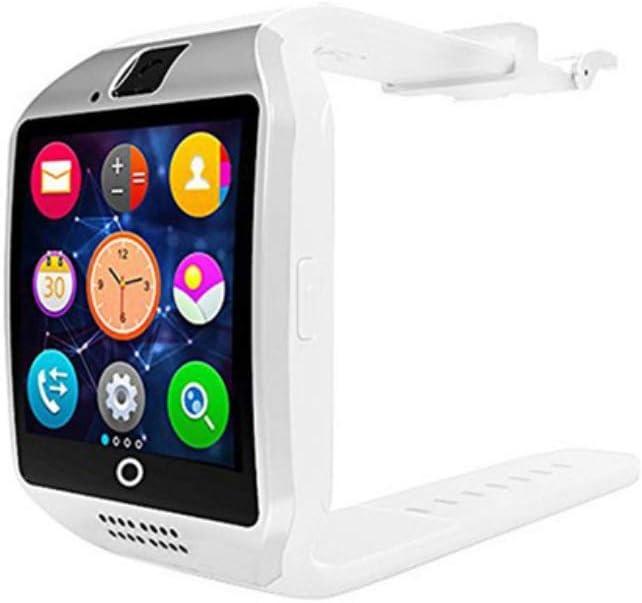 Alician Reloj Inteligente Bluetooth para Hombres Q18 con Pantalla táctil Soporte de batería Grande Cámara de Tarjeta SIM TF para teléfono Inteligente Smartwatch Blanco