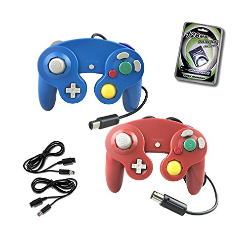Crifeir 2 Pack Wired Controller for Gamecube NGC Wii Video Game,with 2 Cable and 131MB Memory Card(Blue and Red)