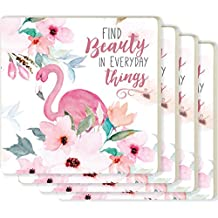Find Beauty in Everyday Things Flamingo Floral 4 x 4 Ceramic Coaster 4 Pack