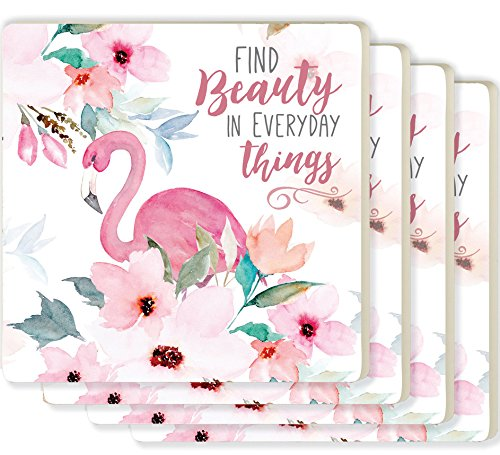 Coasters Flamingo - Find Beauty in Everyday Things Flamingo Floral 4 x 4 Ceramic Coaster 4 Pack