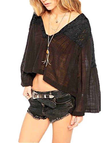 Free People Crochet Back Top - Free People Womens Carry Me Away Gauze Crochet Back Peasant Top Black XS
