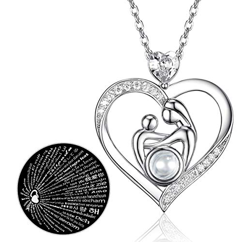 Mothers Day April Birthstone Mother and Child Necklace Gifts for Mom Sterling Silver Jewelry 100 Languages I Love You Mom Diamond Swarovski Necklace Anniversary Wife Birthday Gifts for Women for Her ()