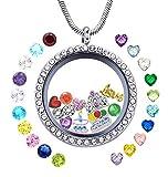 JOLIN Happy Birthday Gift, Women Girl's Floating Locket Necklace for Grandma, Mom, Mum, Wife, Daughter, Granddaughter, Aunt, Niece, Cousin, Best Friend, Sister, Classmate, Teacher, Girl Friend