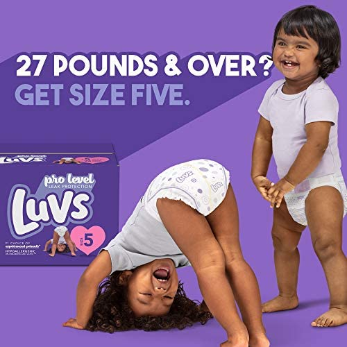 Diapers Size 5, 148 Count - Luvs Triple Leakguards Disposable Baby Diapers, ONE MONTH SUPPLY (Packaging Designs May Vary)
