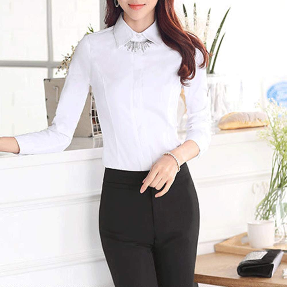 66cd2c0e358e87 LINGMIN Women's Cotton Basic Solid Shirts Fitted Long Sleeve Button-Down  Blouses at Amazon Women's Clothing store: