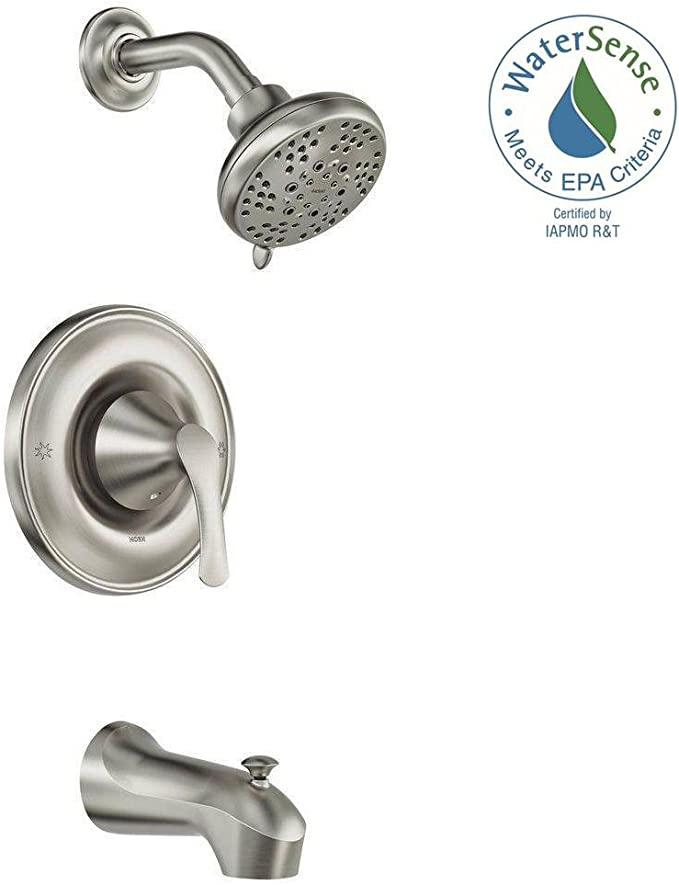 Moen Darcy Single-Handle 5-Spray 1.75 GPM Tub and Shower Faucet with Valve in Spot Resist Brushed Nickel (Valve Included) - - Amazon.com