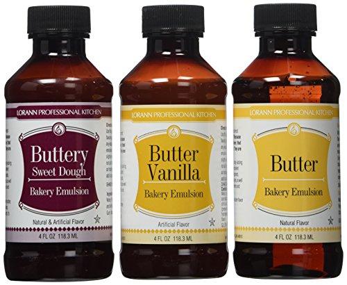 Vanilla Emulsion - Lorann Oils Butter Sweet Dough, Butter Vanilla and Butter Bakery Emulsions 4 Oz Ea