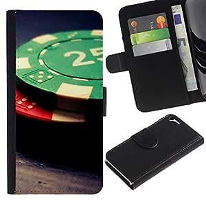 NEECELL GIFT forCITY // Billetera de cuero Caso Cubierta de protección Carcasa / Leather Wallet Case for Apple Iphone 5 / 5S // Fichas de póquer