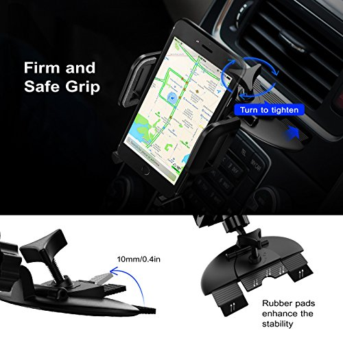 Mpow Car Phone Mount,CD Slot Car Phone Holder Universal Car Cradle Mount with Three-Side Grips and One-Touch Design for iPhone X/8/8Plus/7/7Plus/6s/6P/5S, Galaxy S5/S6/S7/S8, Google, LG, Huawei etc by Mpow (Image #4)