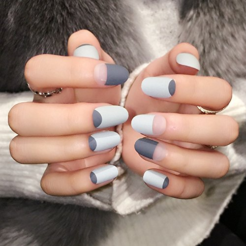 grey-matte-french-nails-round-top-frost-designed-tips-clear-moo-lady-fake-nail-24pcs-kit-press-on-na