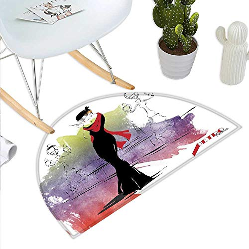 Anniutwo Girls Half Round Door mat Girl with Red Shawl on The Street with Lanterns Sixties Trends Retro Style Glamour Half Round Coir Door mat -