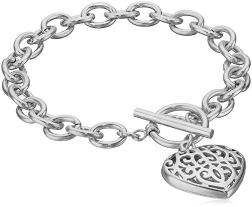 Heart Toggle Large (ELYA Jewelry Womens High Polish Filigree Heart Charm Stainless Steel Cable Chain Bracelet, White, One Size)