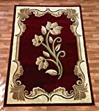 New Contemporary Flower Design Red Burgundy Floral Modern Area Rug Carpet 8 by 11