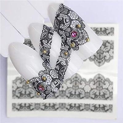 ZHUJING Pegatinas De Uñas Diseño de flores de encaje Etiqueta de ...