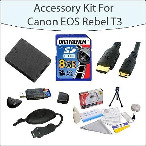 Kit de accesorios para Canon EOS Rebel T3 T5 1100d 1200d Kiss X50 ...