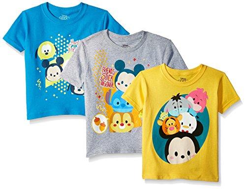 Disney Boys Toddler Tsum 3-Pack Short Sleeve T-Shirt