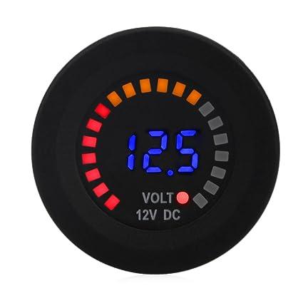WATERWICH Waterproof 12V DC Voltmeter Color LED Digital Display Volt Meter  Voltage Meter Scale Gauge Battery Tester for Marine Car Motorcycle Truck
