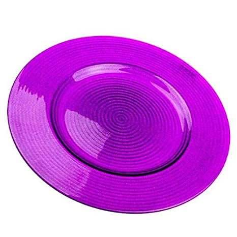 Fizzco Decorative Glass Amethyst Purple Charger Plates - 34cm