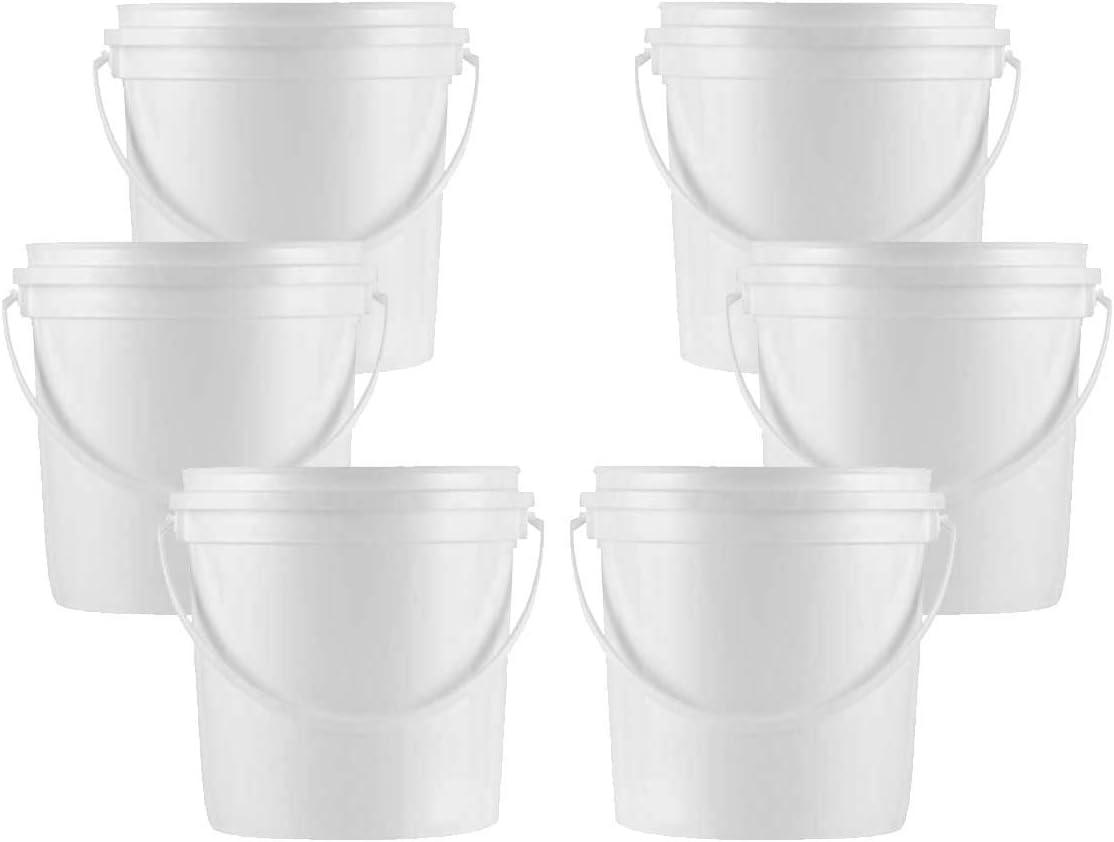 1 Gallon White Bucket & Lid - All Purpose Pail - No BPA Plastic - Food Grade (6)