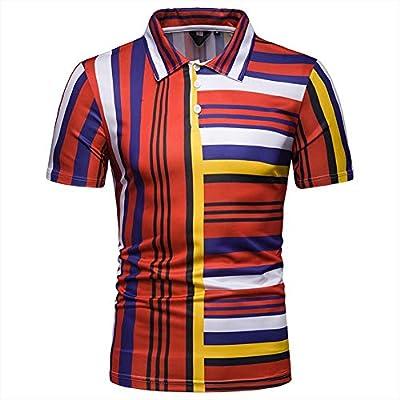 Eharbory Los Hombres Camisa de Polo Rayas de Contraste Slim Fit ...