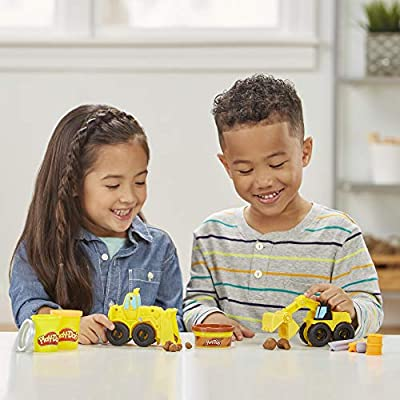 Play-Doh Wheels Excavator & Loader Toy Construction Trucks with Non-Toxic Sand Buildin' Compound Plus 2 Additional Colors: Toys & Games