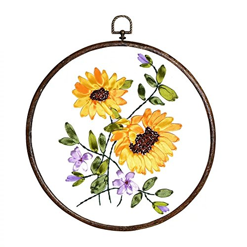 Ribbon Embroidery Kit For Beginner Flower Design DIY Home Wall Decor Sunflowers with Antique Hoop