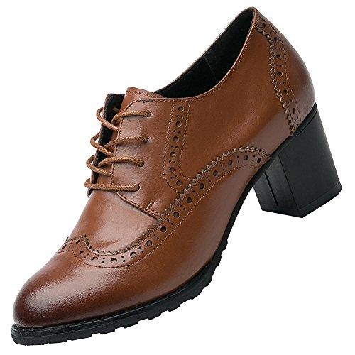 Derbies Lacer Chaussures Wingtips Femme rismart Oxfords Cuir Bout Marron Pointu Brogue qZ0fxwgO