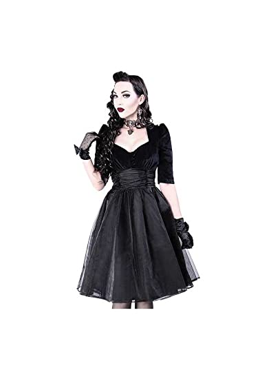 Restyle Velvet Gothic Retro Midi Prom Dress Black S