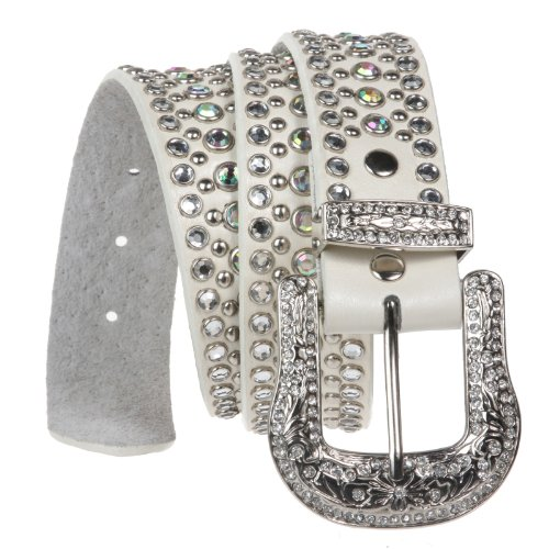 Rhinestone Metallic Leather Studded Belt with Western Rhinestone Removable Buckle Size: S/M - 34 Color: -