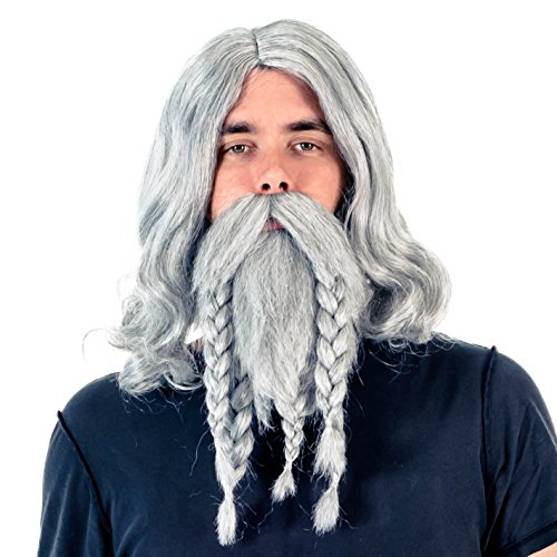 Viking Beard Costume (Adult Deluxe Viking Wig and Beard Costume Accessory Set)