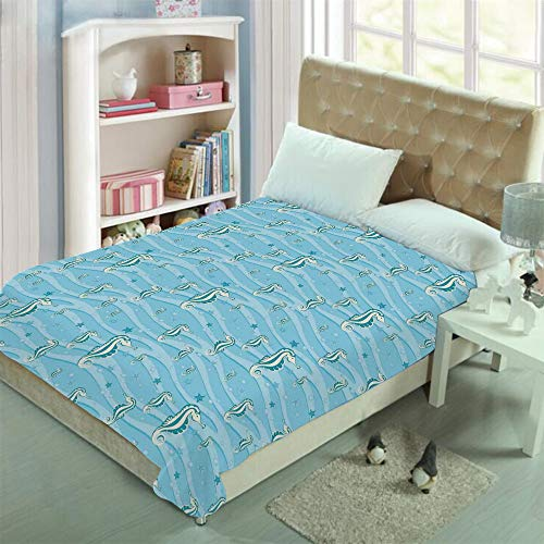 Taggies Sleeper (Double-sided Stylish pattern printed Throw Blanket Custom Design,Seahorses for Kids Nursery Baby Girls Boys Childish,Well keep warm with supersoft hand feeling ,add a lot of color to your life(59
