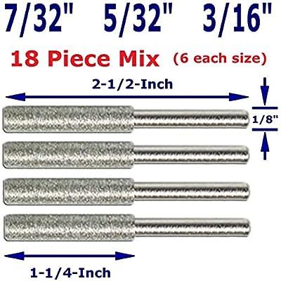 "IntegraTools 5/32"" 3/16"" 7/32"" 18 Piece Mix Diamond Chainsaw Sharpener Burr 1/8"" Shank"