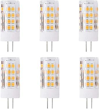 Pack de 6 Bombilla LED G4 5 Watt, 52 x 2835 SMD LED Lámpara, Equivalente Halógena de 50W, 500 Lumen, 360° Ángulo del Haz, Blanco Cálido 3000K, AC/DC 12V, No Regulable: Amazon.es: Iluminación