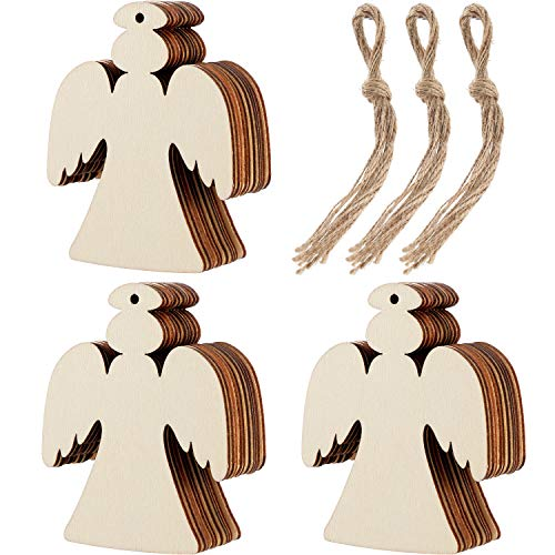 (Tatuo 30 Pieces Wooden Angel Shape Cutouts Crafts Blank Wood Hanging Ornaments with 3 Rolls Twines for Christmas Tree Decoration)