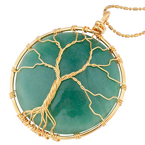 Nupuyai Tree of Life Stone Pendant Necklace for Women Men, Wire Wrapped Healing Crystals Pendants with Chain