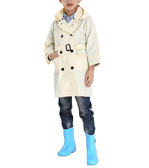 a960e8e206c57 QZUnique Kids  Lightweight Long Raincoat with Belt Waterproof Packable  Ponchos Jackets with Hood Begie
