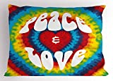 Ambesonne 70s Party Decorations Pillow Sham, Peace and Love Groovy Tie Dye Heart Shaped Abstract Hippie Rainbow, Decorative Standard King Size Printed Pillowcase, 36 X 20 Inches, Multicolor