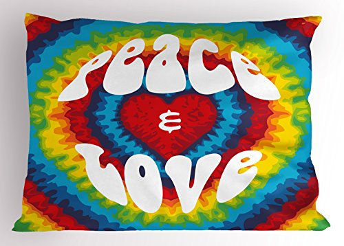 Ambesonne 70s Party Pillow Sham, Peace and Love Groovy Sixties Tie Dye Effect Heart Shaped Abstract Rainbow Print, Decorative Standard King Size Printed Pillowcase, 36