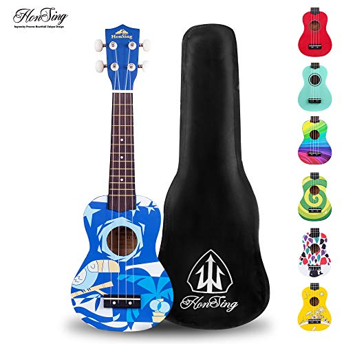 "Honsing Soprano Ukulele With Gig Bag New Basswood Soprano Uke Hawaii kids Guitar 21""- Blue Pattern matte finish"
