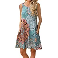 Women Sleeveless Damask Print Floral Casual T Shirt Dress with Pockets (XL, Color 1)