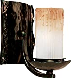 Maxim 10970WSOI Notre Dame 1-Light Wall Sconce Bath Vanity, Oil Rubbed Bronze Finish, Wilshire Glass, CA Incandescent Incandescent Bulb , 60W Max., Dry Safety Rating, Standard Dimmable, Fabric Shade Material, 2016 Rated Lumens