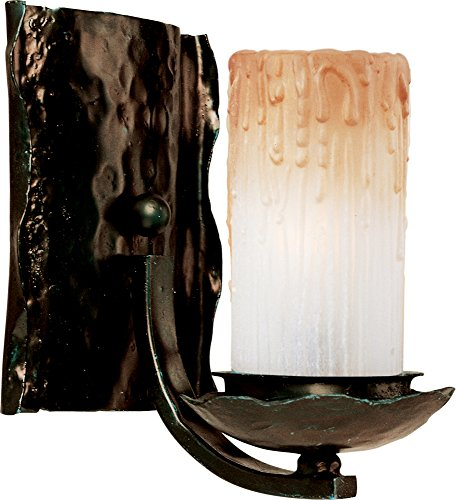 (Maxim 10970WSOI Notre Dame 1-Light Wall Sconce Bath Vanity, Oil Rubbed Bronze Finish, Wilshire Glass, CA Incandescent Incandescent Bulb , 60W Max., Dry Safety Rating, Standard Dimmable, Fabric Shade Material, 2016 Rated Lumens)